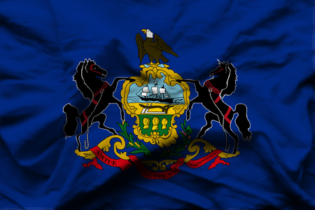 Pennsylvania 3D wrinkled flag illustration. Usable for background and texture.