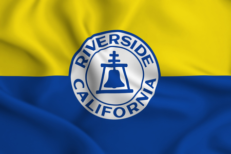Riverside California 3D waving flag illustration. Texture can be used as background.