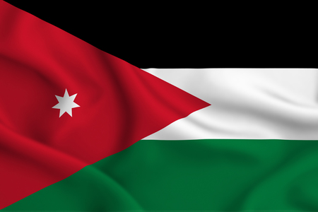 Jordan 3D waving flag illustration. Texture can be used as background. Stockfoto