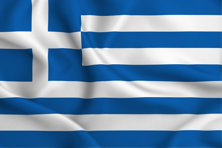 Greece 3D waving flag illustration. Texture can be used as background.