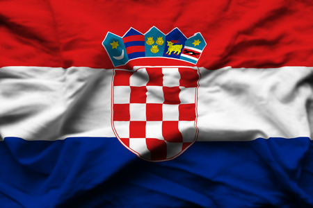 Croatia 3D wrinkled flag illustration. Usable for background and texture. Stock Illustration - 109911941