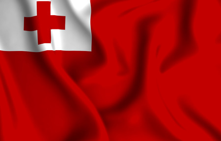 Tonga 3D waving flag illustration. Texture can be used as background.