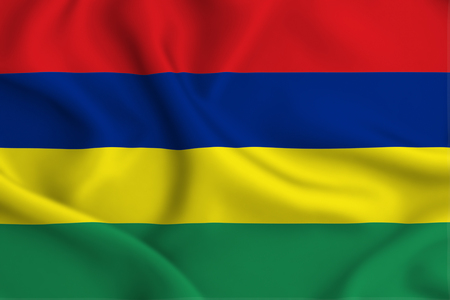 Mauritius 3D waving flag illustration. Texture can be used as background.