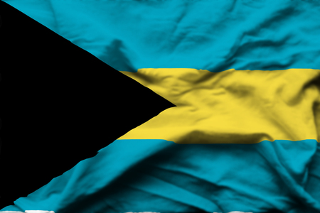 Bahamas 3D wrinkled flag illustration. Usable for background and texture. Stock Photo
