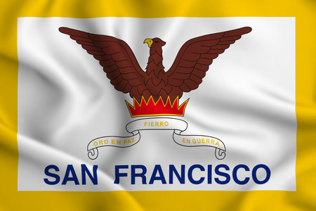San Francisco 3D waving flag illustration. Texture can be used as background. 写真素材