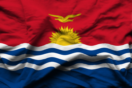 Kiribati 3D wrinkled flag illustration. Usable for background and texture.