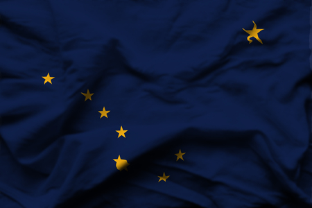 Alaska 3D wrinkled flag illustration. Usable for background and texture.