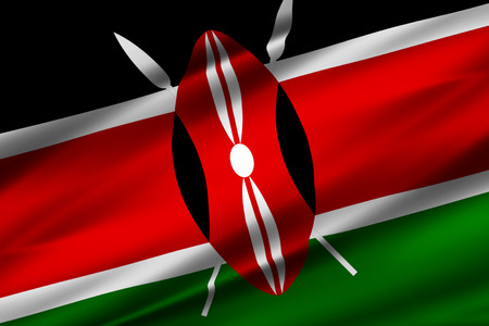 Kenya 3D waving flag illustration. Texture can be used as background.