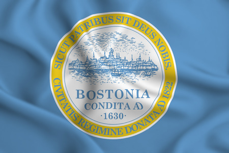 Boston 3D waving flag illustration. Texture can be used as background.