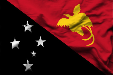 Papua New Guinea 3D wrinkled flag illustration. Usable for background and texture.