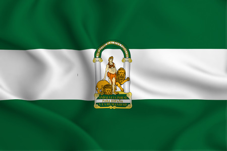 Andalucia 3D waving flag illustration. Texture can be used as background.