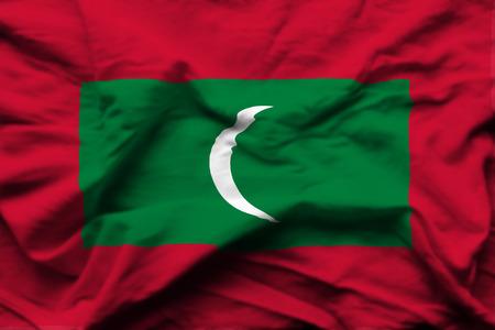 Maldives 3D wrinkled flag illustration. Usable for background and texture.