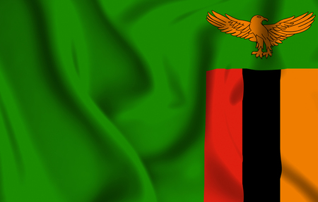 Zambia 3D waving flag illustration. Texture can be used as background. Stock Photo