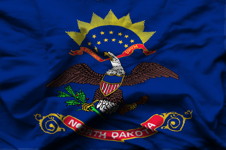 North Dakota 3D wrinkled flag illustration. Usable for background and texture.