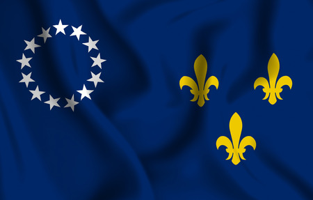 Louisville Kentucky 3D waving flag illustration. Texture can be used as background. Stock Photo