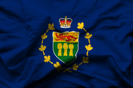 Lieutenant-Governor Of Saskatchewan 3D wrinkled flag illustration. Usable for background and texture.