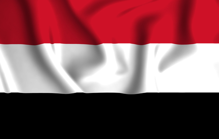 Yemen 3D waving flag illustration. Texture can be used as background.