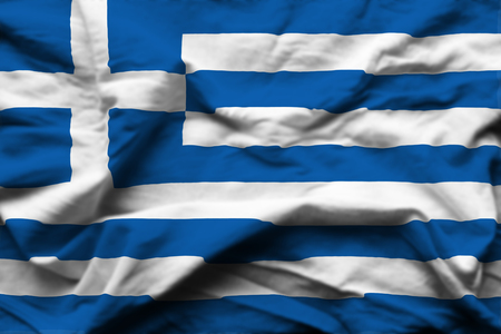 Greece 3D wrinkled flag illustration. Usable for background and texture.