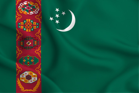 Turkmenistan 3D waving flag illustration. Texture can be used as background.