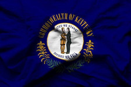 Kentucky 3D wrinkled flag illustration. Usable for background and texture.