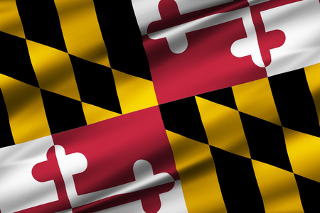 Maryland 3D waving flag illustration. Texture can be used as background. Stock Photo