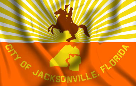 Jacksonville Florida 3D waving flag illustration. Texture can be used as background. Stock Illustration - 109912312