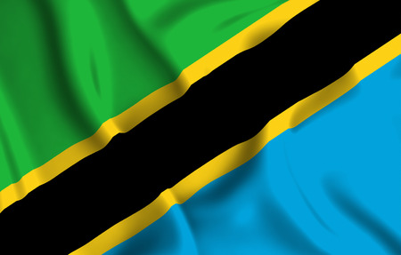 Tanzania 3D waving flag illustration. Texture can be used as background.