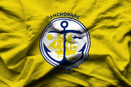 Anchorage Alaska 3D wrinkled flag illustration. Usable for background and texture. 写真素材
