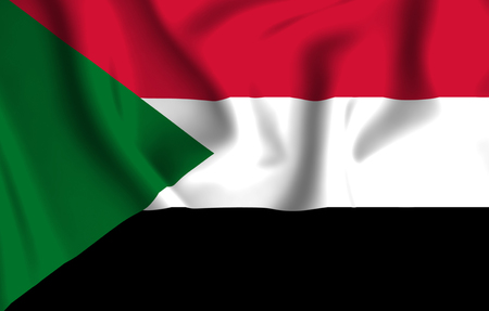 Sudan 3D waving flag illustration. Texture can be used as background.