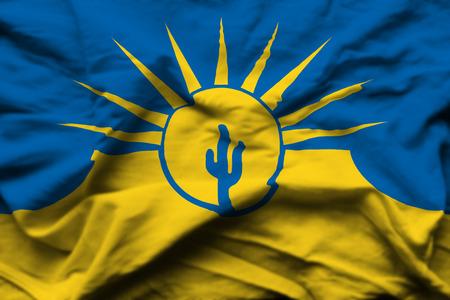 Mesa Arizona 3D wrinkled flag illustration. Usable for background and texture. 版權商用圖片