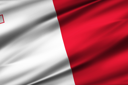 Malta 3D waving flag illustration. Texture can be used as background. 写真素材
