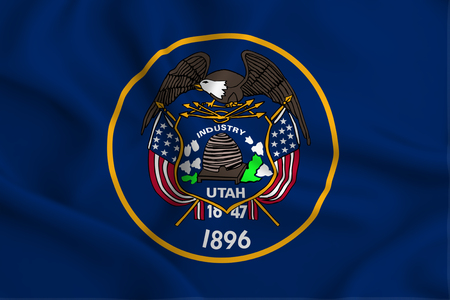 Utah 3D waving flag illustration. Texture can be used as background.