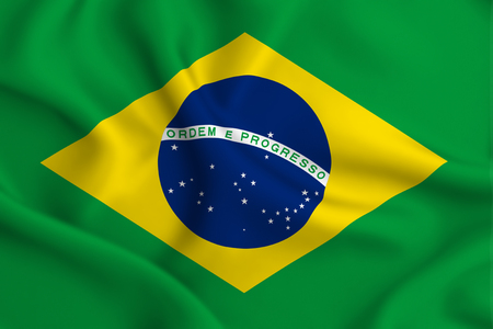 Brazil 3D waving flag illustration. Texture can be used as background.