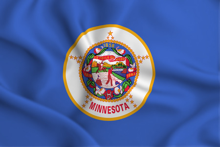 Minnesota 3D waving flag illustration. Texture can be used as background. Stock Photo