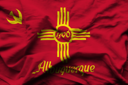 Albuquerque New Mexico 3D wrinkled flag illustration. Usable for background and texture.