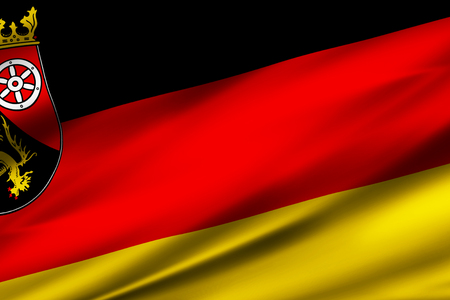 Rhineland-Palatinate  3D waving flag illustration. Texture can be used as background. Stock Photo