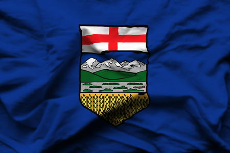 Alberta 3D wrinkled flag illustration. Usable for background and texture. Stock Photo