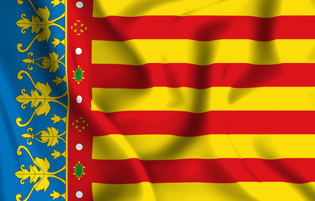 Valencia 3D waving flag illustration. Texture can be used as background.