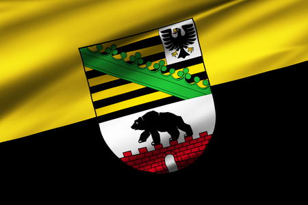 Saxony-Anhalt  3D waving flag illustration. Texture can be used as background. Standard-Bild - 109910569