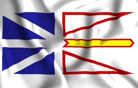 Newfoundland And Labrador 3D waving flag illustration. Texture can be used as background. Banque d'images - 109910620