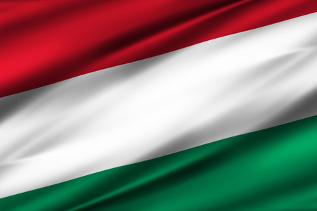 Hungary 3D waving flag illustration. Texture can be used as background. Stock Photo