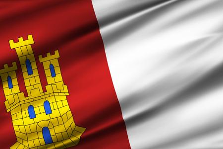 Castilla La Mancha 3D waving flag illustration. Texture can be used as background.