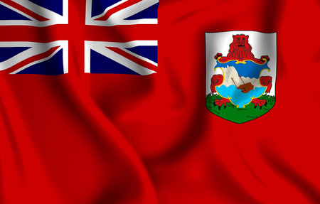 Bermuda 3D waving flag illustration. Texture can be used as background.