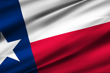 Texas 3D waving flag illustration. Texture can be used as background. Stock Photo