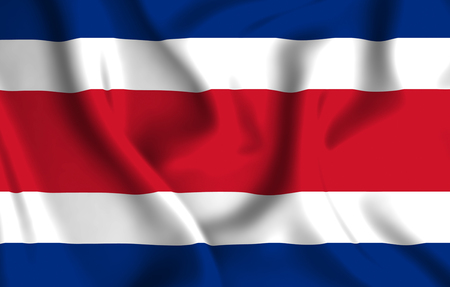 Costa rica 3D waving flag illustration. Texture can be used as background.