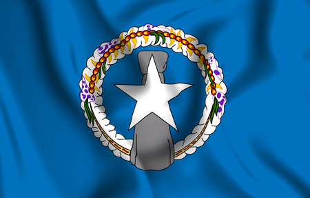 Northern Mariana Islands 3D waving flag illustration. Texture can be used as background. Stock Photo