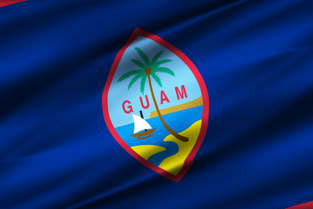 Guam 3D waving flag illustration. Texture can be used as background.