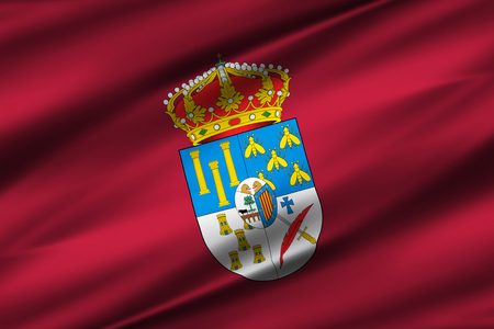 Salamanca 3D waving flag illustration. Texture can be used as background.