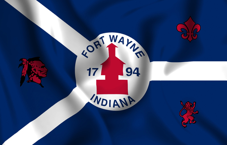 Fort Wayne Indiana 3D waving flag illustration. Texture can be used as background. Stock Illustration - 109908286