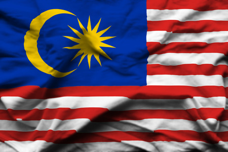 Malaysia 3D wrinkled flag illustration. Usable for background and texture.